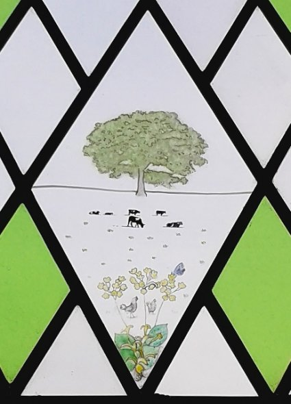Rural Painted Scene in Stained Glass Window, Hilmarton