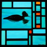 Merganser Stained Glass Panel