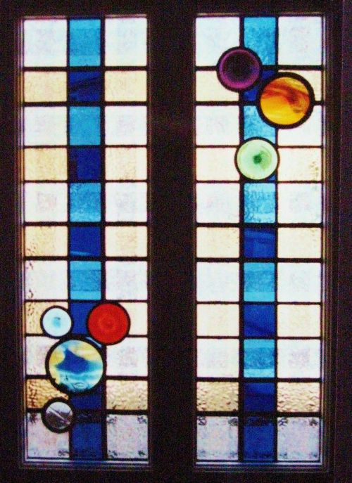 """The Picnic"" Stained Glass Door Panels, Malmesbury"