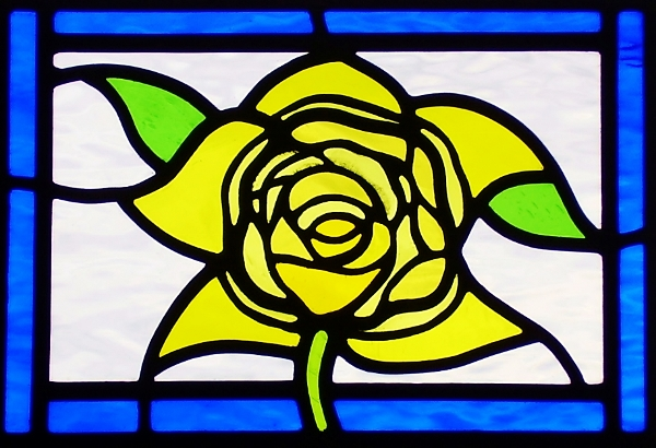Rose Stained Glass Front Door Panel