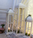Our handmade distressed wooden lanterns. 3ft, 4ft & 5ft tall
