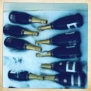 Champagne bottles in the snow