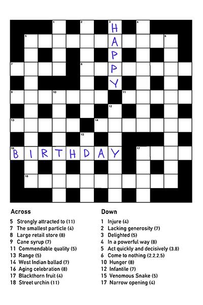 Richard Cox Professional Photography Birthday Crossword