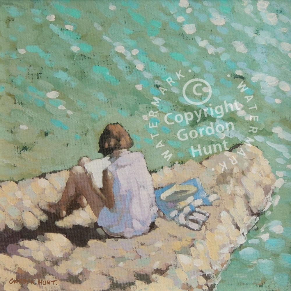 A quiet read. Gordon Hunt. Limited edition print. Impressionist style.