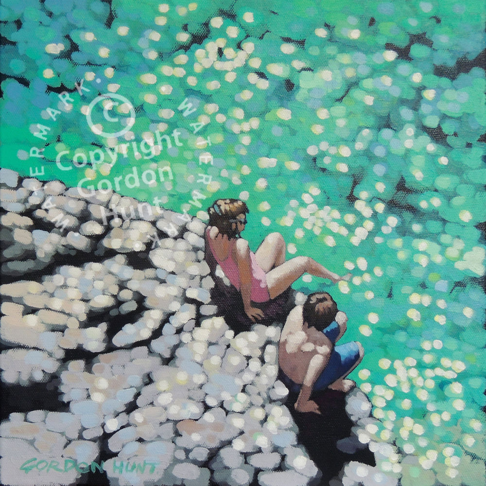Toe in the water. gordon hunt. limited edition print. impressionist.