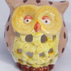 owl tea light front