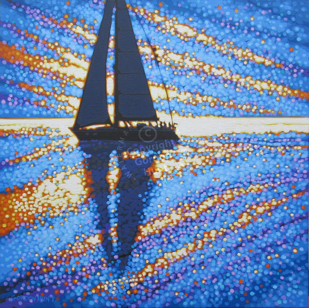 Sailing the sparkling sea. Gordon Hunt. Cornwall. 60 x 60cm £680.00.
