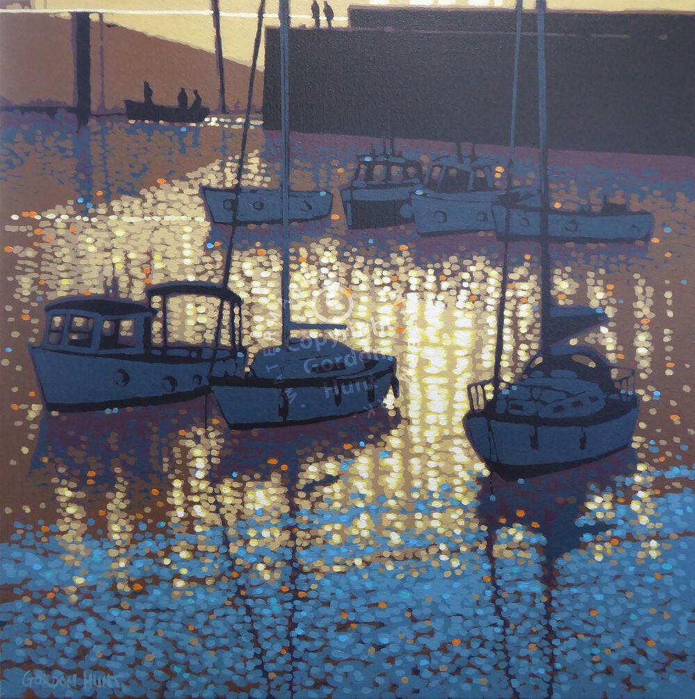 Sunset reflections. Porthleven. Cornwall. Gordon Hunt. 60 60cm SOLD
