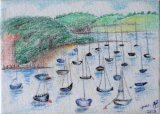SOLD Falmouth harbour 7 x 5 inch canvas in coloured pencils