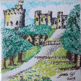 SOLD Windsor Castle from the long walk. Mini canvas in pen with dots