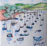 Boats moored in Falmouth harbour. Mini canvas in pen with dots