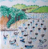 SOLD Falmouth Harbour, Cornwall. Mini canvas in pen with dots