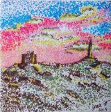 SOLD Carn Brea monument overlooking Redruth Cornwall. Mini canvas in pen with dots