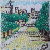 SOLD Windsor Castle from the long walk. Mini canvas pen with dots