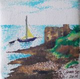 "SOLD Sailing by Pendennis castle – ""Little Dennis"". Mini canvas in pen with dots"