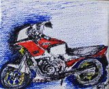 SOLD Honda VF750 Motorbike pen on canvas