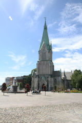 Kristiansand cathedral on sunny day with clear blue sky Norway