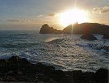 Sun sets over Kynance Cove Lizard Peninsular