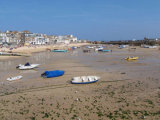 Stranded boats at low tide in St Ives bay