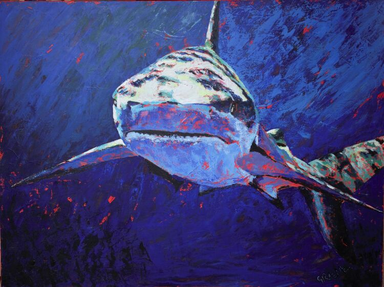 """""""Feargal"""" acrylics on box canvas finished with glitter and high gloss resin. 1016mm x 762mm. £1450"""