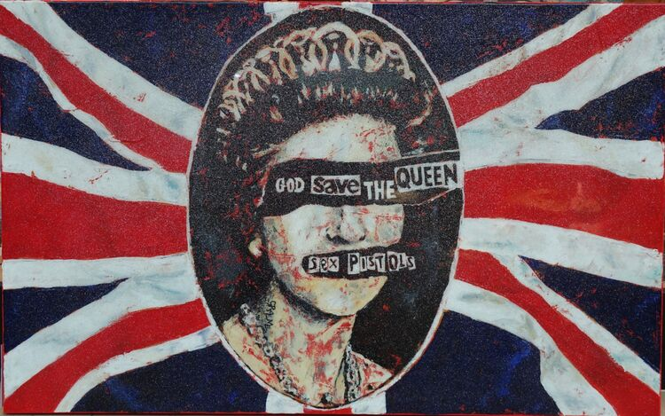 """""""God save the queen"""" acrylics on a massive box canvas finished with glitter and resin."""