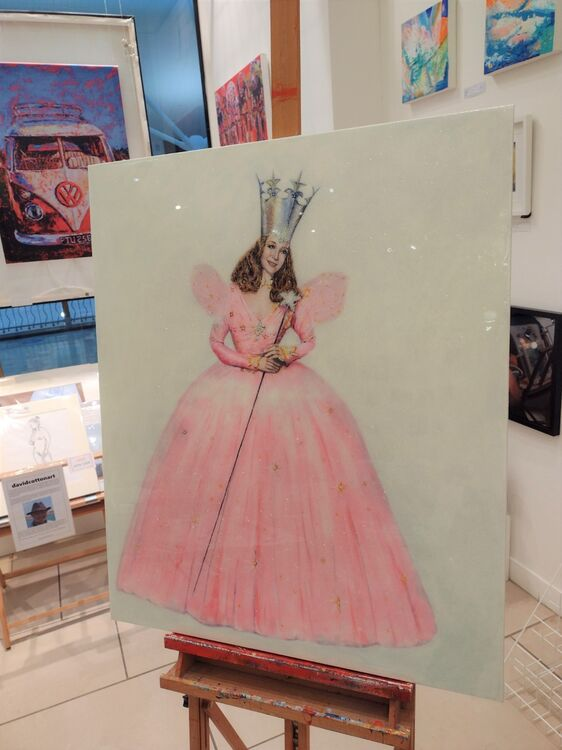 """""""Glinda"""" acrylics on a large box canvas finished with glitter and resin. ***SOLD***"""