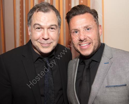 X Factor winner Steve Brookstein with comedian Aaron James