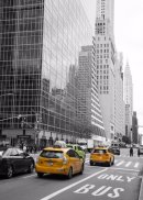 Taxi to 42nd Street (b&and white and colour)