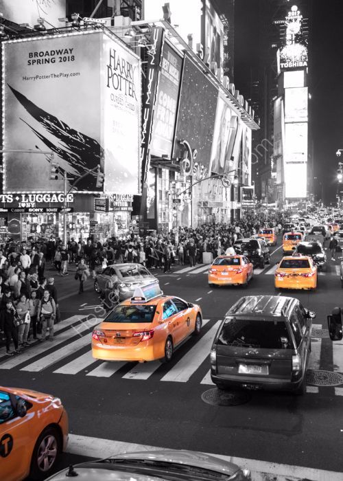 Taxi to Times Square (bw)