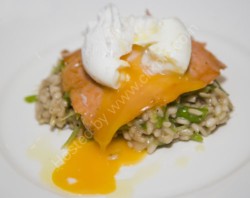 Salmon Risotto with a poached egg