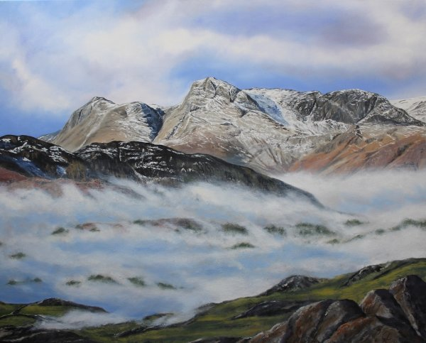 Langdale Pikes above a sea of cloud