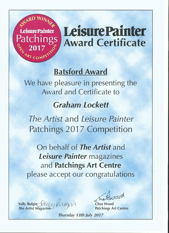 Patchings Award Certificate