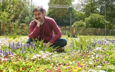Yours truly sitting amid the blooms