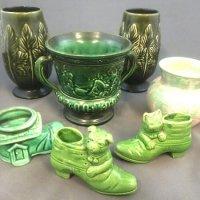 7 green vases