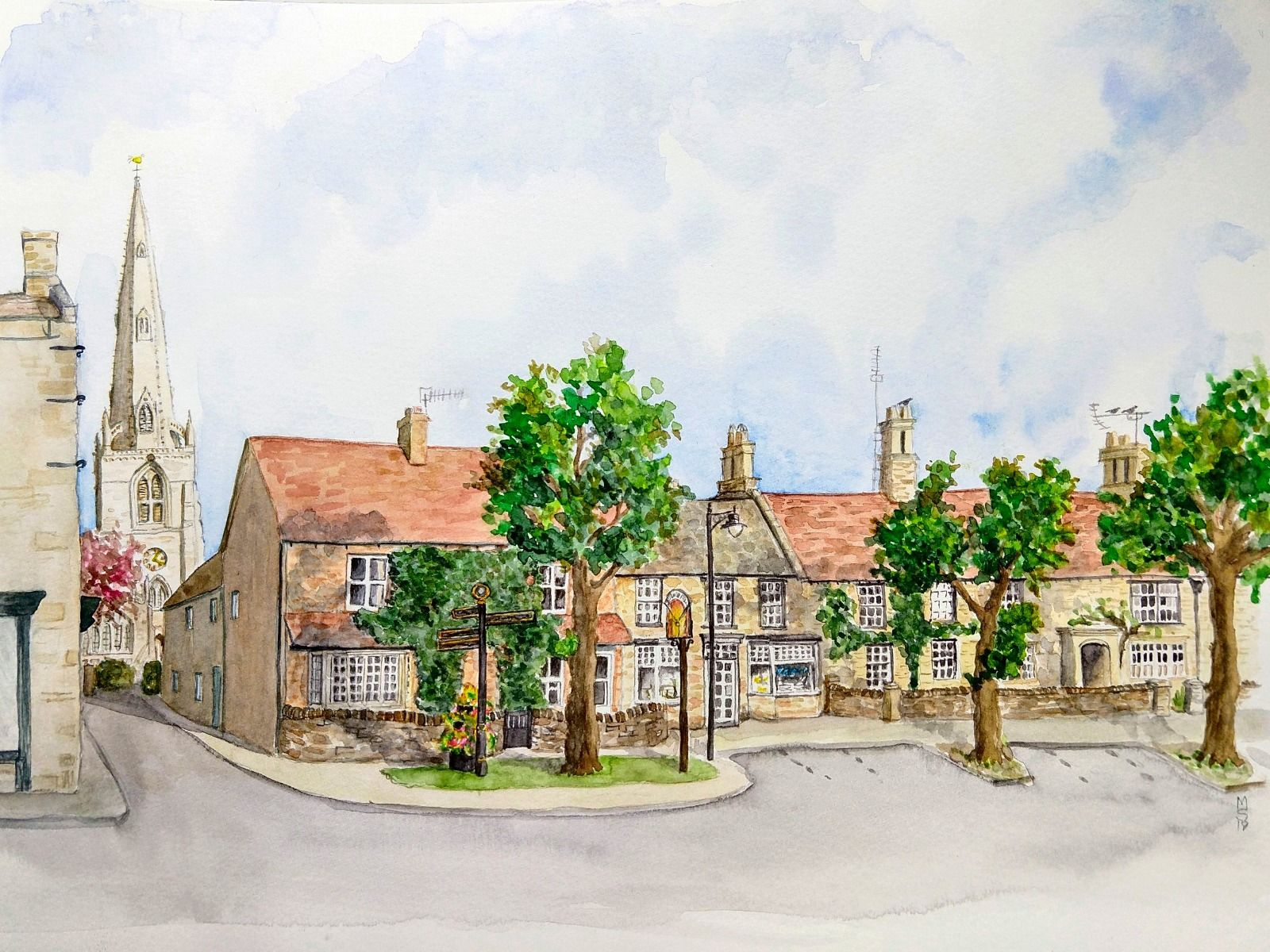 Higham Ferrers Market Square Chicele St.Marys church greeting card