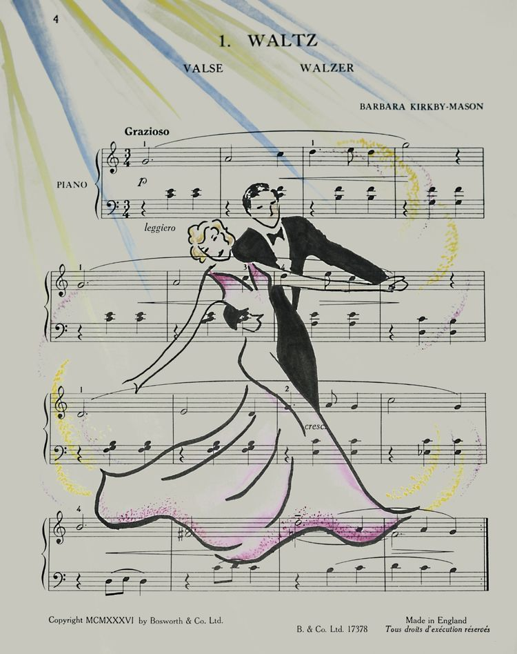 music score, dancers, waltz