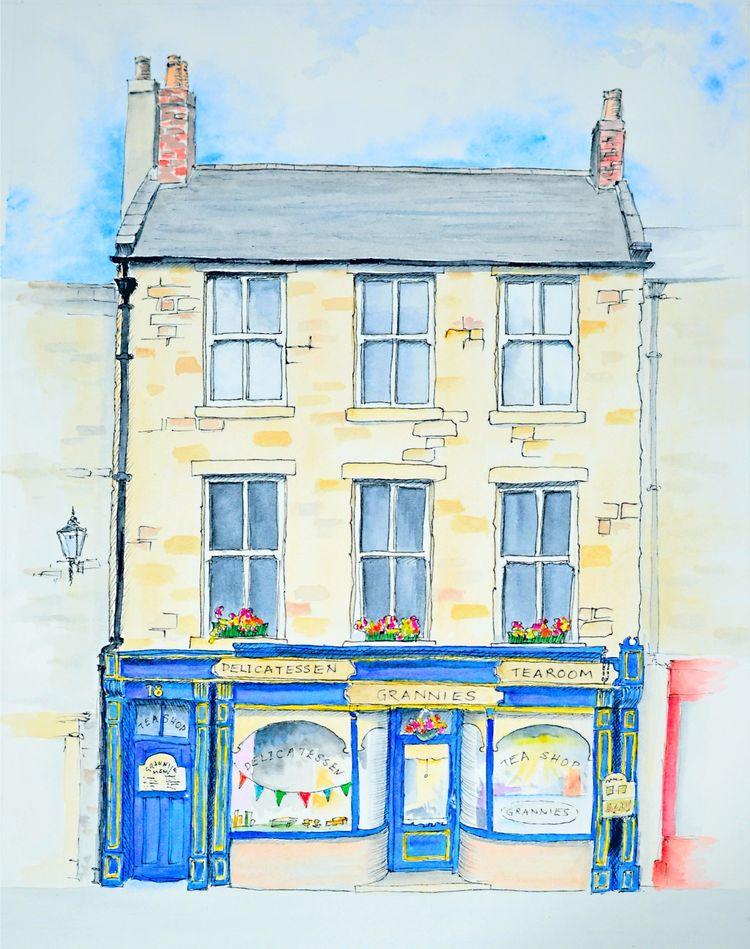 Grannies tea room, Alnwick, pen and watercolour