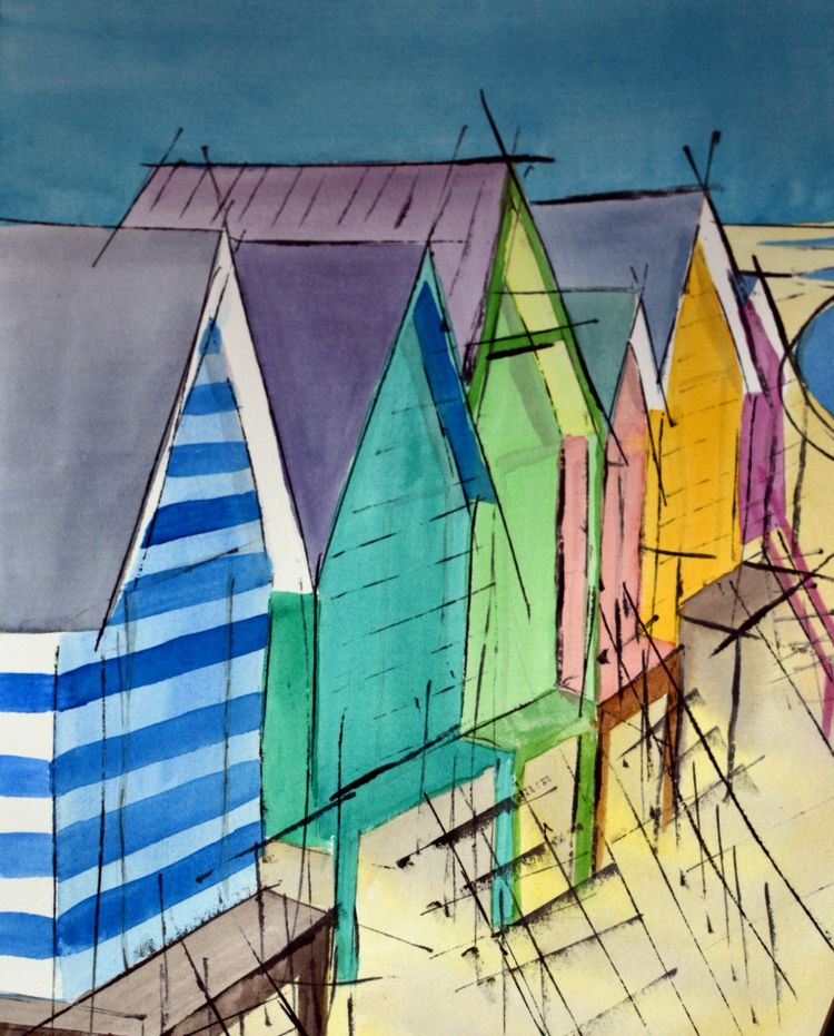 Beach Huts watercolour seaside print abstract