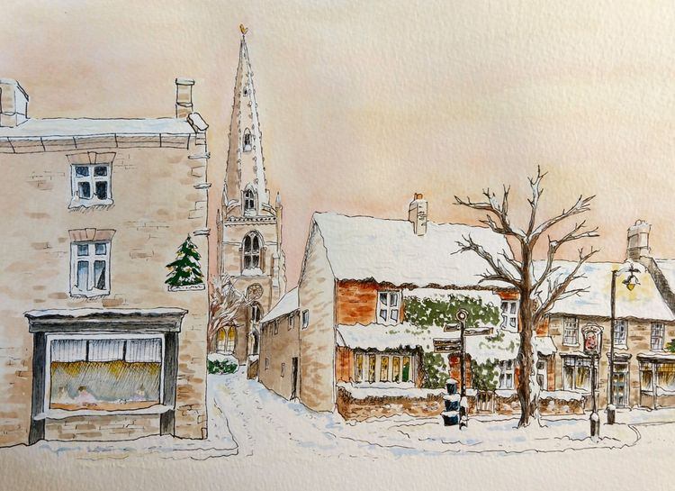Higham Ferrers snow market square winter card