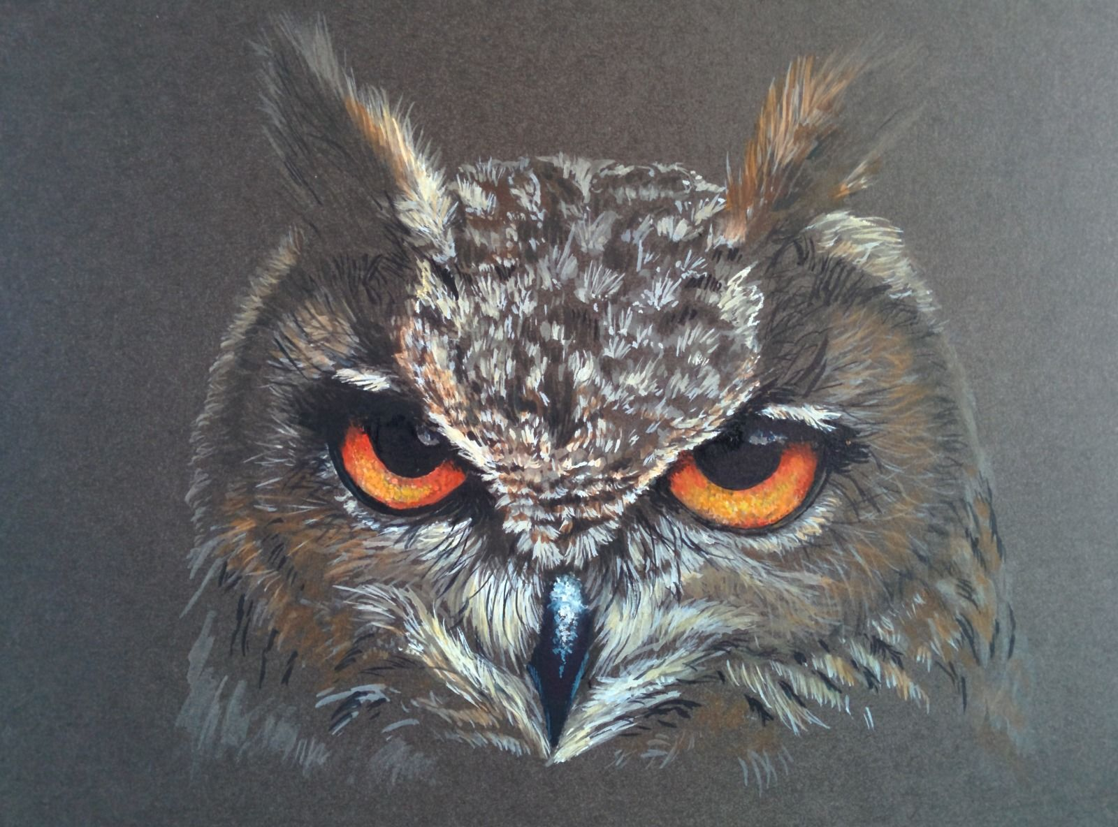 Eagle Owl (Eurasion) watercolour gouache