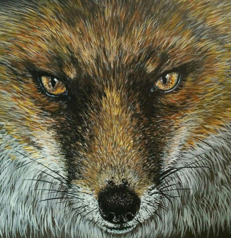 Fox fur watercolour gouache eyes