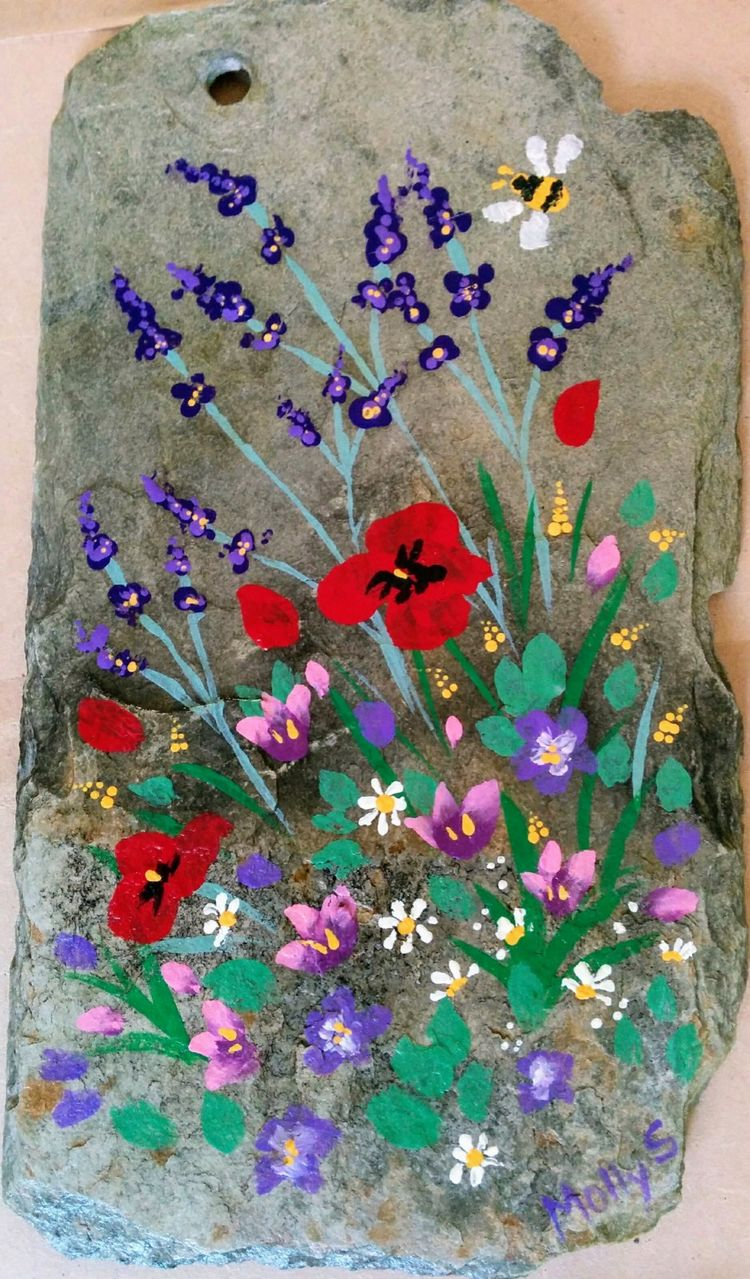 Garden flowers, roof slate, wall art, poppies, lavender, up-cycled, re=purposed