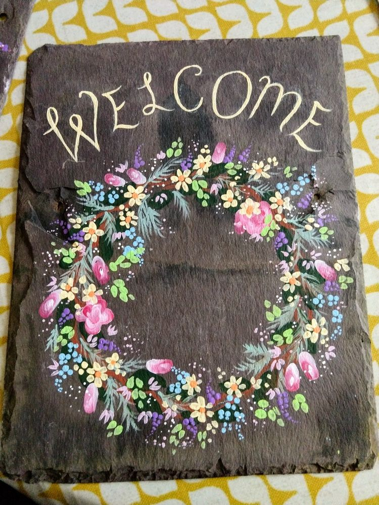 slate upcycled repurposed decorative wall art welcome hand painted