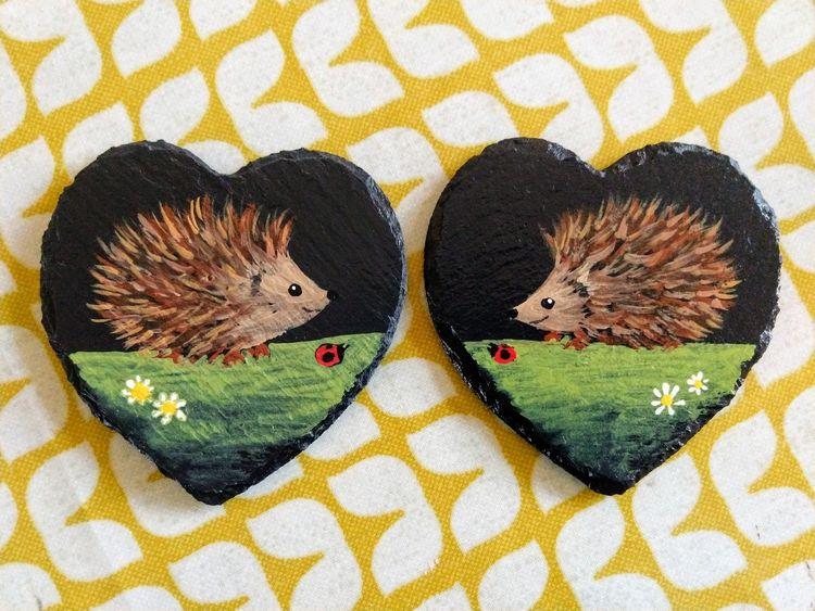 hedgehogs slate coasters ladybird ladybug daisies hearts
