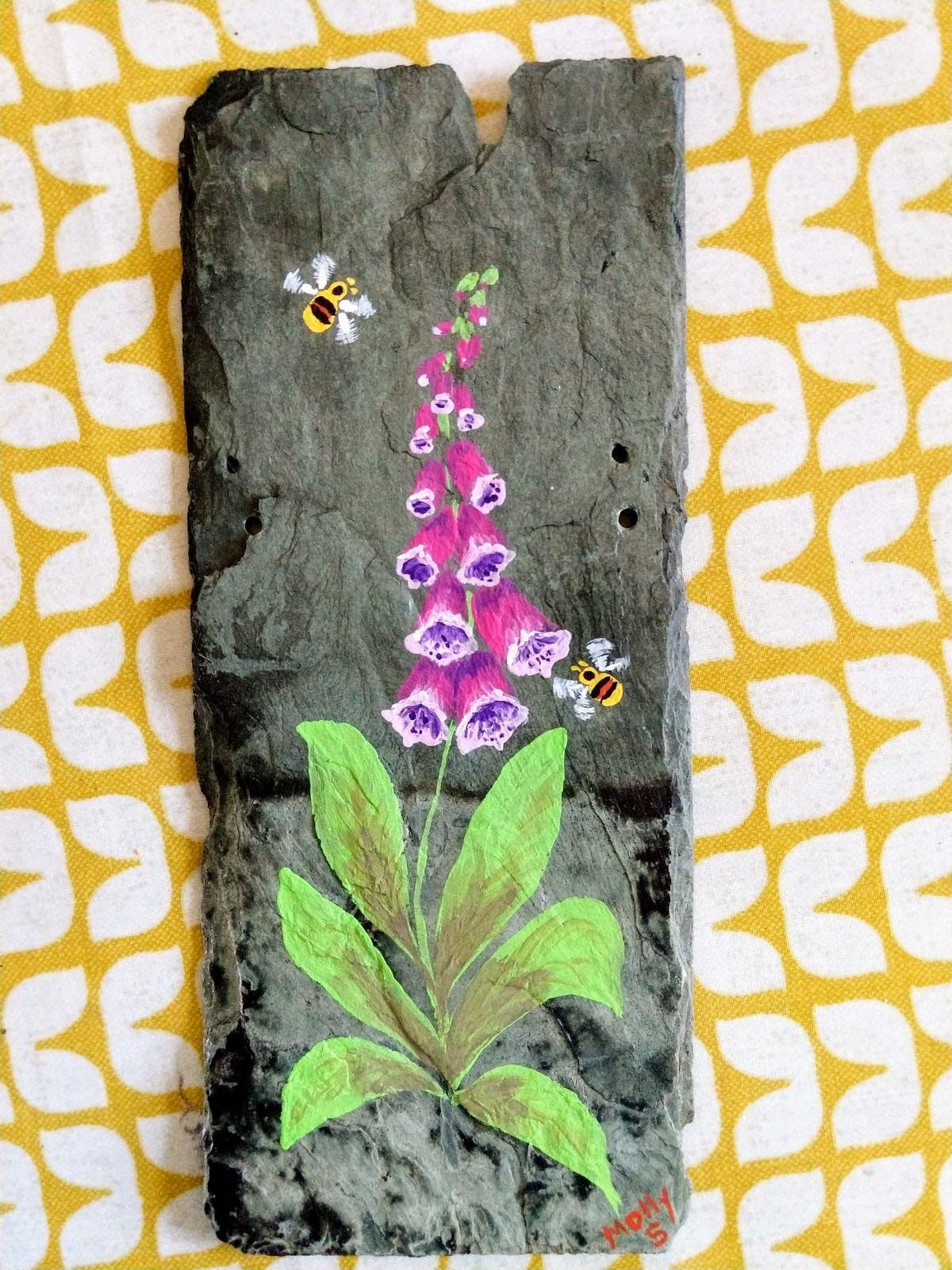 Green slate decorative wall art foxglove bumble bee handpainted