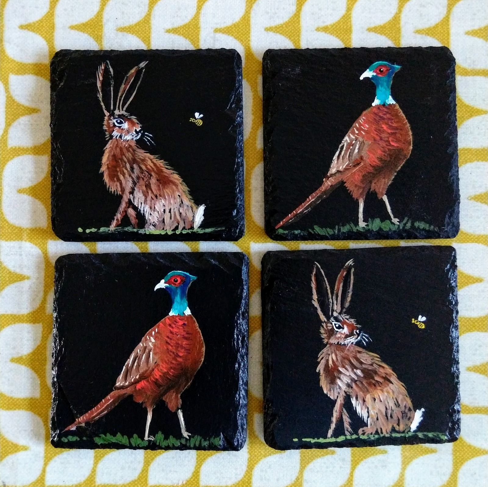 slate coasters painted pheasant hare hand-painted