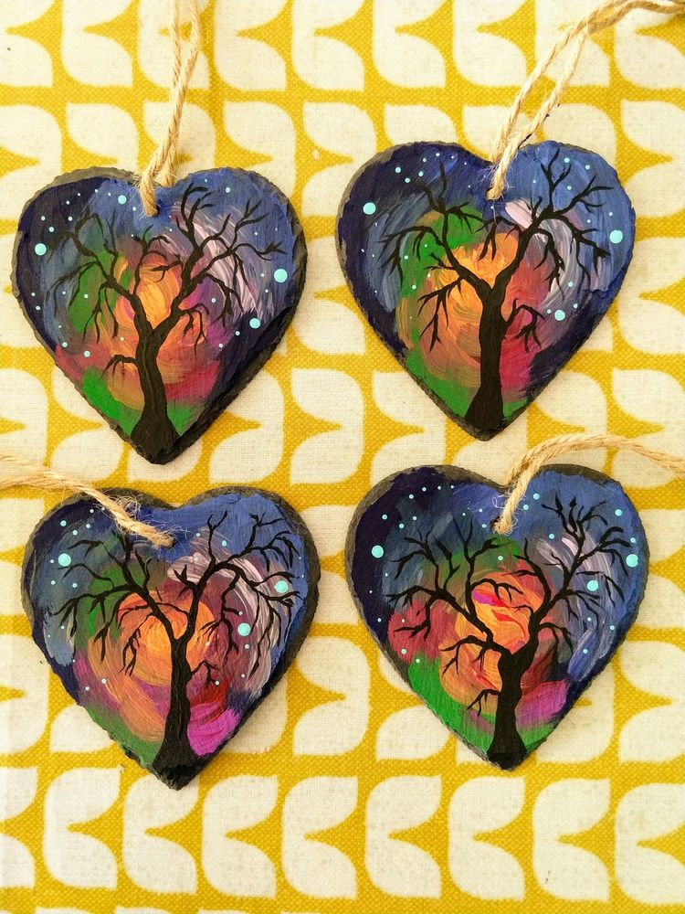 Wintery hanging hearts