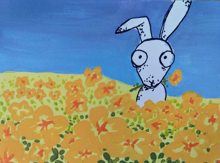 Greetings card, hare, rabbit