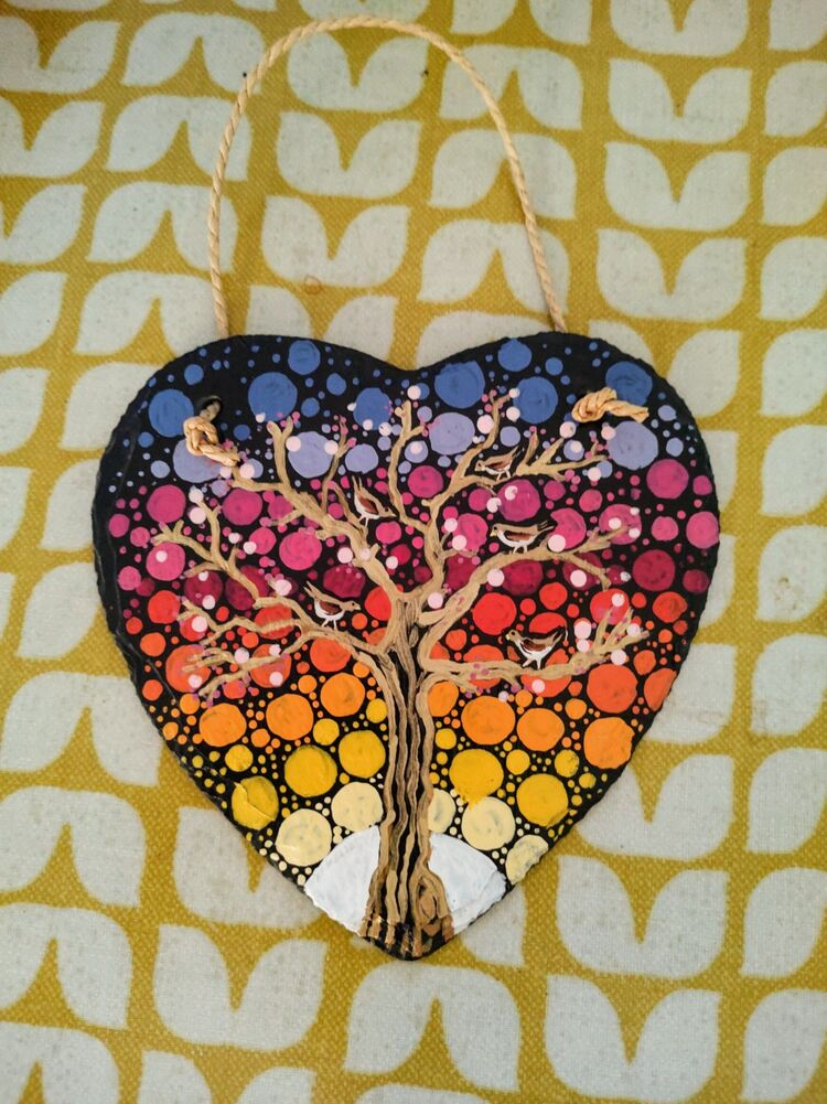 Slate, heart, rainbow, tree, hope, dots