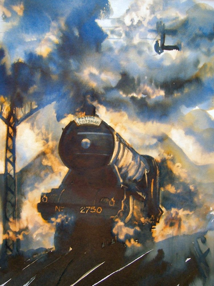 Flying Scotsman, painted, ink, stem train